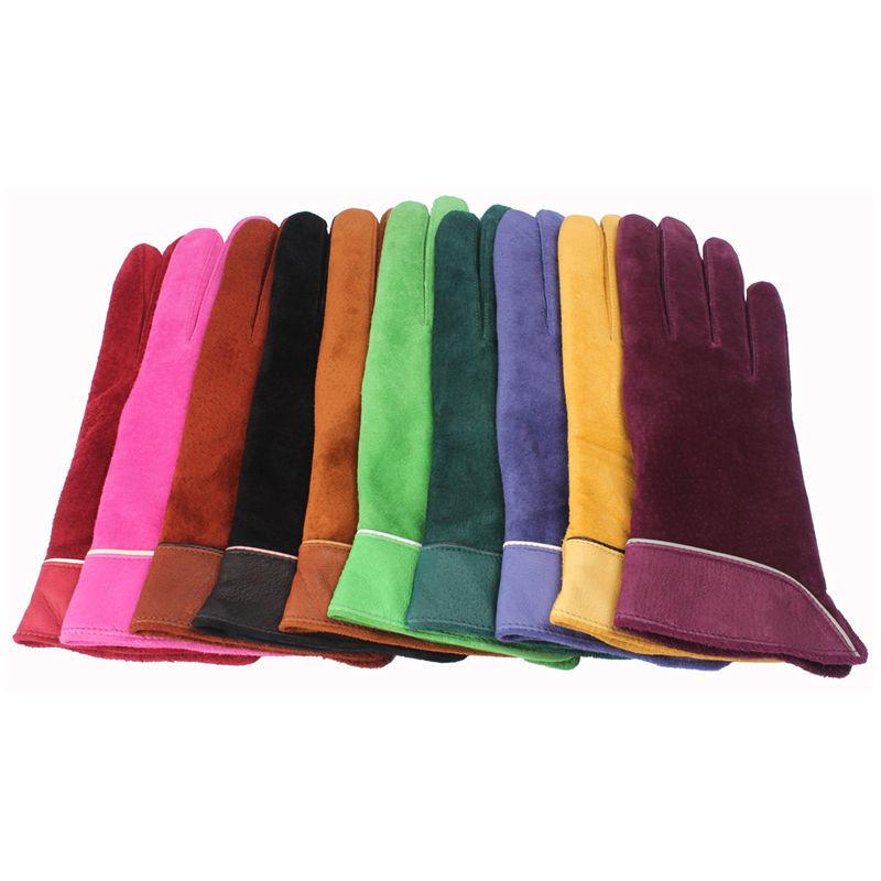 2014 colorato marca nuova moda donna vera pelle scamosciata guanti invernali guanti in pelle donne s/m/l