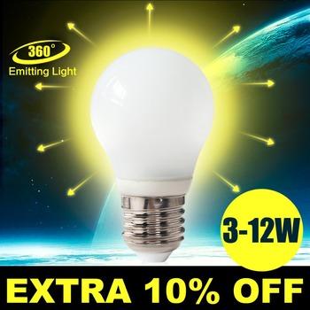 Светодиодные лампы E27 220 В 3 Вт 4 Вт 5 Вт 7 Вт 10 Вт 12 Вт SMD из светодиодов лампочка E27 360 град. белый теплый белый энергии бренд оптовая продажа много