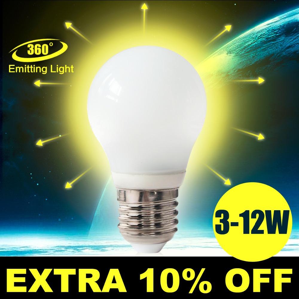 Led Lamp E27 220V 3w 4w 5w 7w 10w 12w SMD Led Bulb E27 360 Degree White Warm White Energy Saving Led Light Brand Wholesale Lot(China (Mainland))