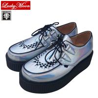EU 34~40 Top quality!!QueenCity Light Silver Laser Fashion Harajuku Creepers Flats Platform Women Casual Hologram Creeper Shoes