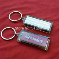 Solar Power Flashing English name fashion keychain logo customized LCD blinking key-ring/keyholder/promotional gifts, Alexandria