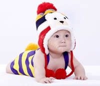 Colorful Crochet Baby Hat Stripe Pattern Cartoon Bear Design Thicken Kids Winter Caps Baby Warm Hats 18569 B22
