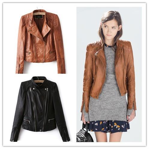 New fashion mandarin collars bomber Leather jackets women supernova shorts coat leather jaqueta couro casual dress pattern(China (Mainland))