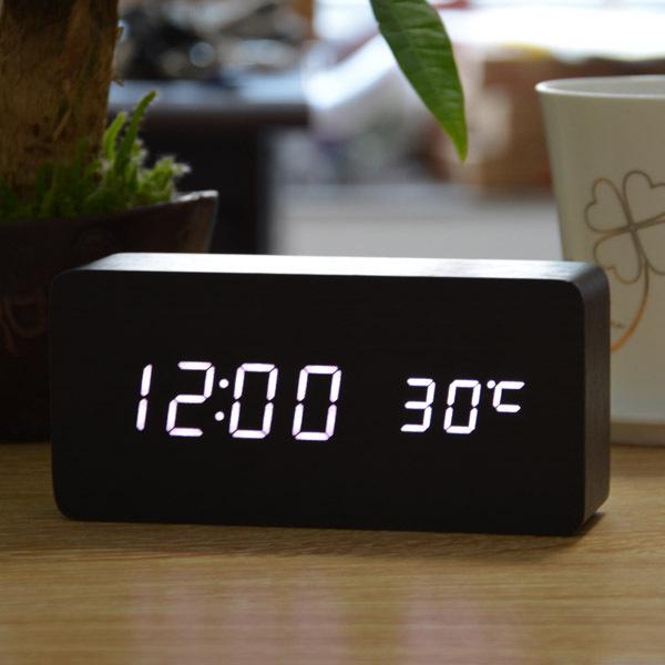 White LED Clocks, alarm clock + Temperature voice activated , Battery/USB power /electronic desk clocks display(China (Mainland))