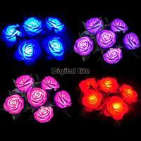 New 2014 4 Colors LED Decorative Color Valentine Changeable Rose Flower Light LED Lamp Wedding Party Favors Romantic 19956*