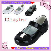 Hot Selling!!!! 2014 New Products Girls's Wedding Flat Heel Mary Jane Flats with Magic Tape Shoes For Kids (More Colors)