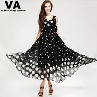 VA summer maxi long women dresses polka dot black o-neck sleeveless tank dresses plus size woman 2015 xxxl xxl P00069