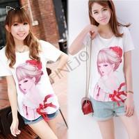 2014 Summer Women big T-shirts Sparkling Diamond Beauty Bow O-neck Short-sleeve Chiffon Shirt Blouse Crop Top SV001491 B9