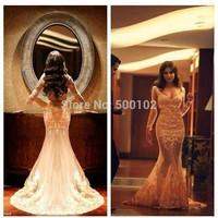 Vintage Design Deep V Neck Appliqued Lace Mermaid Tulle Evening Party Dresses