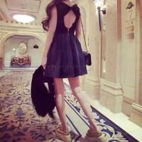 2014 new spring Korean women back bow princess dress sleeveless halter dress b014 SV002057