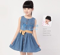 Drop shipping 2014 new baby girl spring summer dress girls casual princess dresses kids cotton thin denim sleeveless dress