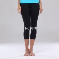 cheap Top quality 87% nylon 13% spandex solid black women's yoga capri pants