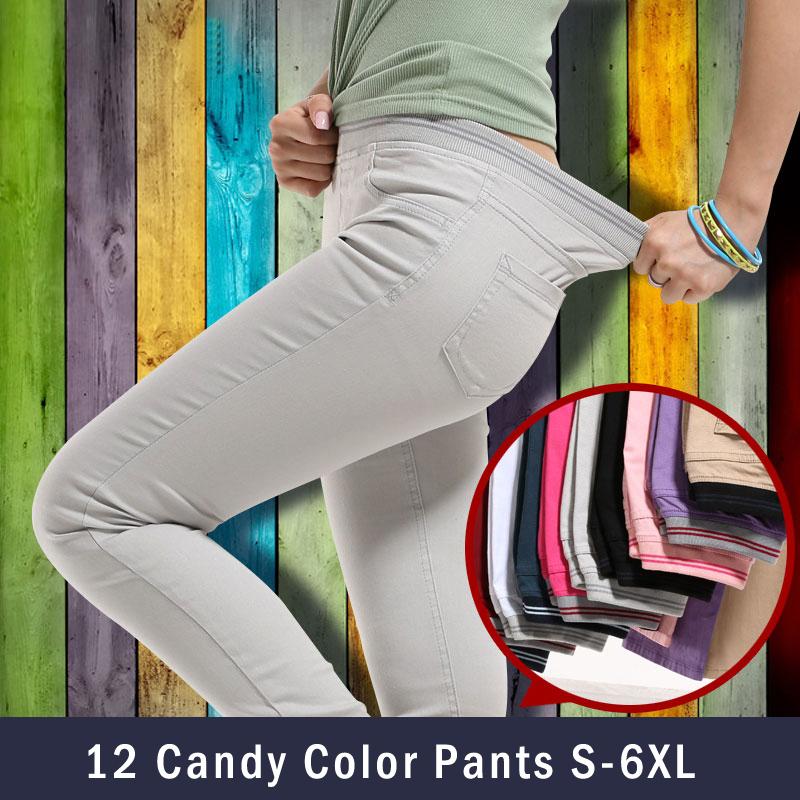 2014 vendita calda matita pantaloni pantaloni caramelle donne sottile pantaloni pantaloni matita estensibile Palazzo s~6xl spedizione gratuita plus size