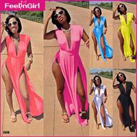 7 Colors Plus size S~3XL 2014 Summer Fashion Women Sexy Long Dress High Slit Maxi Dresses Deep V Neck Beach Novelty Party Dress