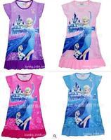 4pcs/lot free shipping frozen 2014 pajamas children brand kids cotton nightgowns / tenis infantil princesas girls nightgown 002