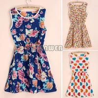 New 2014 Women Summer Dress Ladies Casual Slim Flower Floral Print Strap Beach Hawaii Chiffon Short Mini Tops Dress B16 SV003924