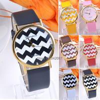 Hot sale Fashion Geneva Stripes Watch PU Leather Analog Quartz Wrist Watches Unisex Sport Casual Wrist Watch B003 SV001897