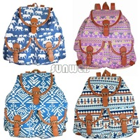 Free Shipping new elephant Diamondbacks pattern Printed canvas shoulder bag student backpack schoolbags for women #10 SV004184