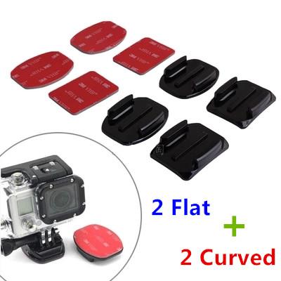 sj4000 Accessories Gopro Adhesive Mount Kit 2PCS Flat Adhesive Mount + 2 Curved Adhesive Mounts For GoPro Hero 4 3 Camera  Stand(China (Mainland))