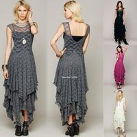 Womens Princess Style Sheer Lace splicing Layered Hollow Out irregular Evening Backless Long Dress Drop Shipping B6 SV004225