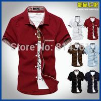 Hot Sale 2014 Fashion Summer Famous Brand Mens Dress Shirts Short Sleeve Slim Fit Camisa Social Men Casual-Shirt Free Shipping