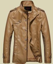 Men's fashion plus velvet jacket warm wind tide leather men's coat jacket casual leather men 's jacket coat shop agent(China (Mainland))