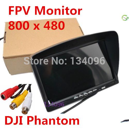 "7"" FPV LCD Color 800x480 FPV Monitor Video Screen 7 inch HD Sun hood for Rc Multicopter Car DJI Phantom CCTV Ground Station(China (Mainland))"