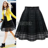 Hot Selling Summer Women Elastic High Waist Solid Zipper Chiffon Slim Skirt OL Ladies Organza Pleated Skirt Plus Size b6