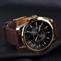 2014 New Hot Fashion Wristwatch Men Women Dress Watches Unisex Luxury Synthetic Leather Band Date Quartz Wrist Watch 29