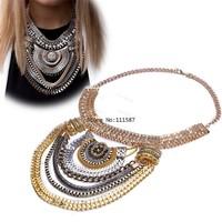 Cheap Women Jewelry Multilevel Statement Pendant Choker Chain Necklace Silver/Gold Drop Shipping Dress Accessories B19 SV006775