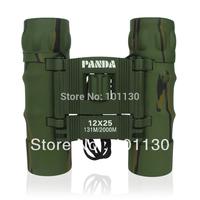 12x25mm Panda Pocket Binoculars Camouflage Floding Telescope for Outdoor Sports Travel