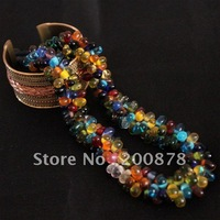 TNL343  Nepal colorful Glass Beads Necklace 17'',2011 colorful fashion,Low MOQ