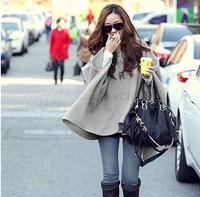 Hot! Korean Style Winter Coatt Hooded Bat Sleeved Fur Collar Shawl Outerwear Ponchos Capes Jacket Fur Women Coat SV17 SV009543