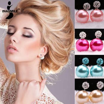 2015 новый ювелирные изделия brincos серьги двухместный жемчужные бусины кристалл серьги для женщин канал серьги pendientes серьги стержня