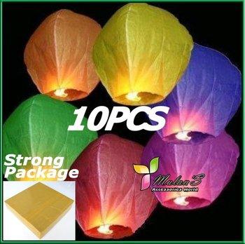 15% OFF Mulan'S 10pcs Mixed Color UFO Sky Wishing Lantern Chinese Lantern Birthday Wedding Christmas Party Lamp ,FREE SHIPPING