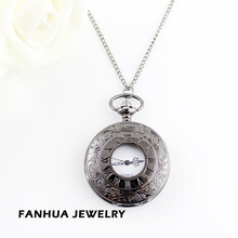 Vintage unique roman capital pocket watch necklace Free shipping(China (Mainland))
