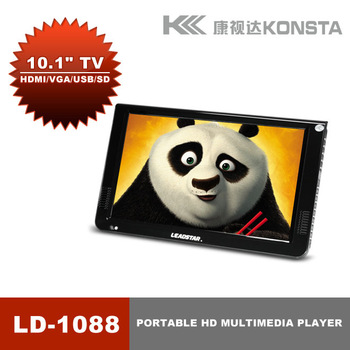 Hot Sale! 10'' Portable monitor media player, support VGA input, with USB and SD full HD movies mov mkv avi 3gp support