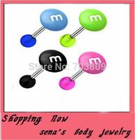 Tongue piercing  free shipping 100pcs/lot mix 8color Acrylic body jewelry print M logo tongue barbell rin  tongue ring