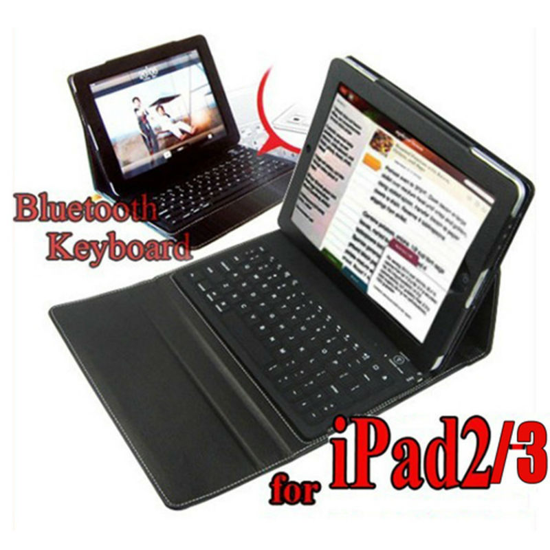 Leather Case + wireless Bluetooth Keyboard for iPad 2 3 4 iPad3 2nd stand bag - Multi color(China (Mainland))