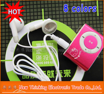20pcs/LOT Hello Kitty Clip MP3 Player + GIFT 3 in 1 mp3 For Best Festival Gift  Free Shipping 8 Colors to choose