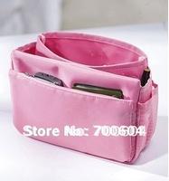 2014 Free shipping Multi-function Lady's Cosmetic Handbag bags women Girl's Pink Terylene Bag/Makeup/Phone Bag 10pcs/lot