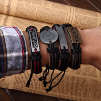 Designer Handmade Genuine Leather Bracelets with metal plate,Wholesale Charm Leather Wistband with hieroglyphic,12pcs/lot,2014