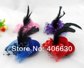 "4"" mini top hat, clip fascinator, headwear, 6 colors, 24pcs/lot, free shipping by China post"