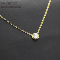 14KGP fashion zirconia stone circle necklace women necklace chain 316L stainless steel jewelry wholesale free shipping