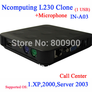 Ncomputing L230 clone call center thin clients with USB microphone 24 bit color windows XP 2000 server 2003 support