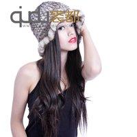 Natural Genuine Knitted Mink Fur Sun Hats Wave Trim Winter Women Fur Caps Accessories QD5792