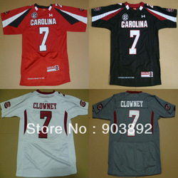 South Carolina Gamecocks #7 Jadeveon Clowney white black grey red ncaa football jerseys 2012 new style free shipping(China (Mainland))