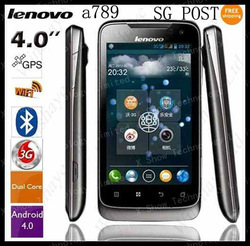 "Free shipping MTK6577 Lenovo A789 4.0""WVGA Capacitance Screen Android 4.0 GPS 3G Dual core 1.0GHZ Russian menu(China (Mainland))"