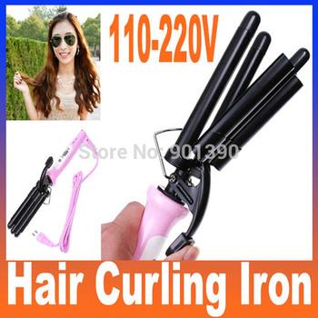 Hot High Quality Professional Pink Wand Hair Curling Iron Ceramic Rollers Three Barrel 110-220V (EU Plug), Free Shipping