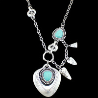 Vintage Look Retro Silver Plated Tibetan Silver Alloy  Heart Shape Turquoise Bead Pendant Necklace Free Shipping N054